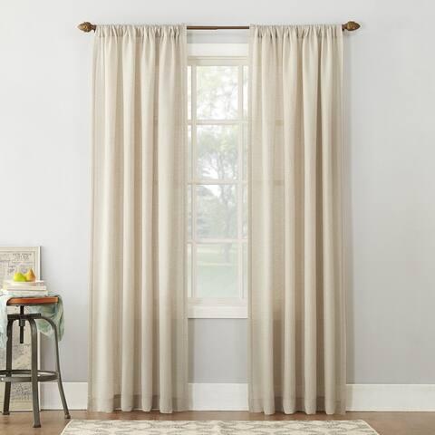 No. 918 Amalfi Linen Blend Textured Sheer Rod Pocket Single Curtain Panel