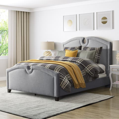 CorLiving Fairfield Fabric Curved Top King Bed