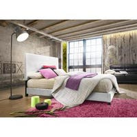 Mia White Upholstered Panel Bed