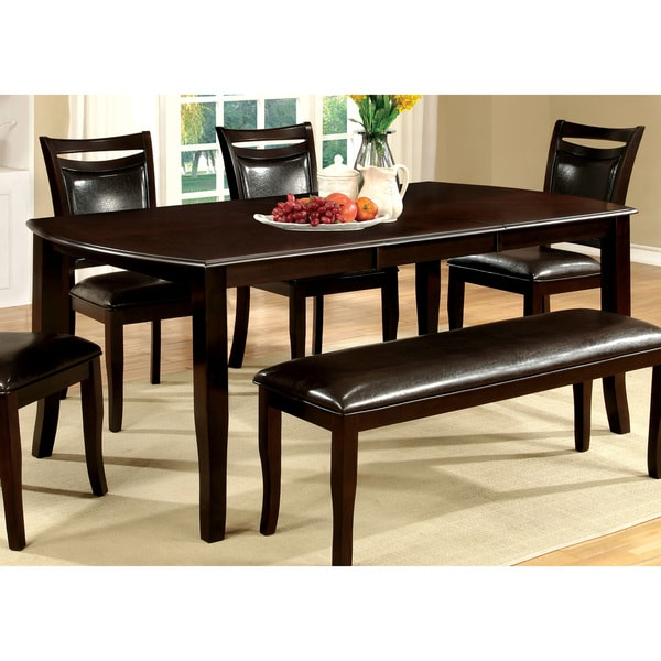 Furniture Of America Clemmine Espresso Extendable Dining Table With 18 Inch Leaf
