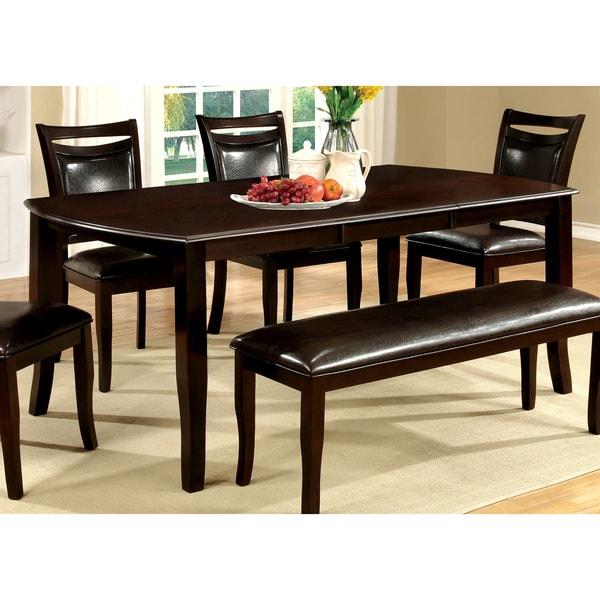 shop furniture of america clemmine espresso extendable dining table rh overstock com espresso color dining room sets espresso dining room chairs