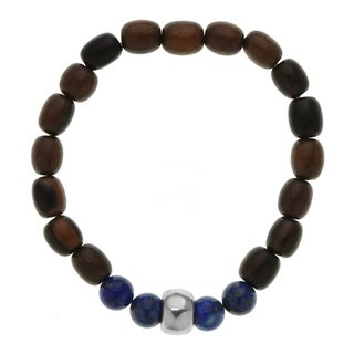 8 inches Painted Maple Wood Bracelet with Lapis and Silver-tone Accents