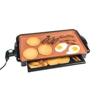 Nostalgia GD20C Non-Stick Copper Griddle with Warming Drawer