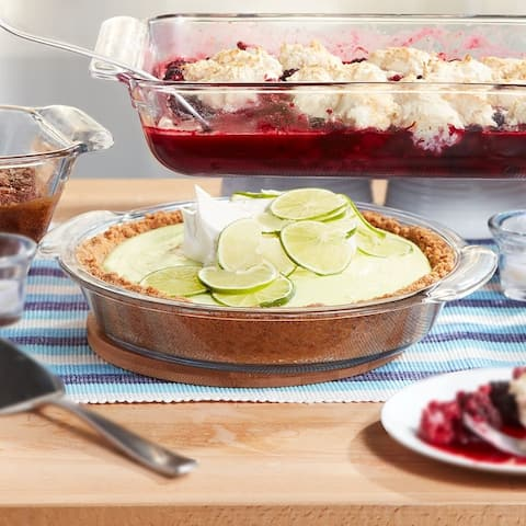 Libbey Baker's Premium 2-Piece Glass Deep Pie Plate Set, 9-inch