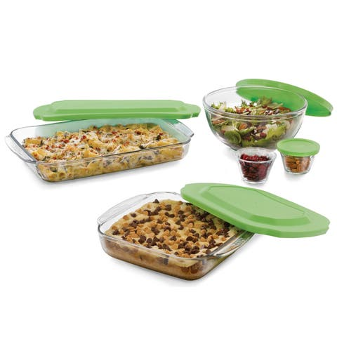 Libbey Baker's Basics 7-Piece Glass Casserole Dish and Bakeware Set with Lids