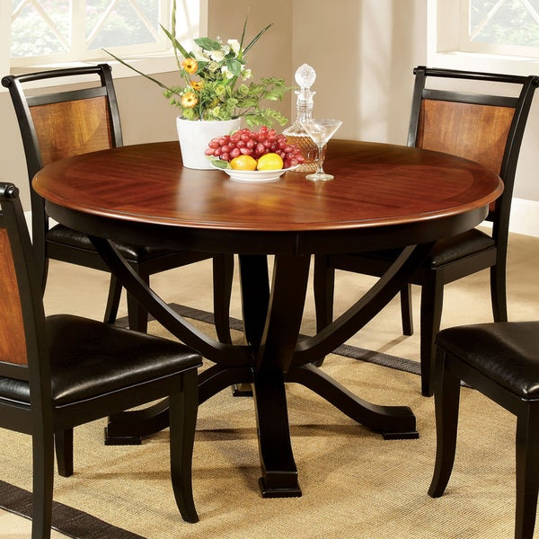 Shop Furniture Of America Lyda Transitional Black Acacia Round Pedestal Dining Table