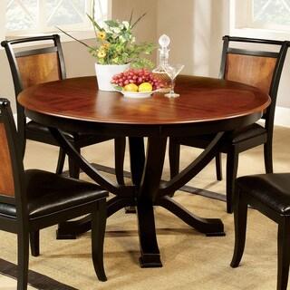 Furniture of America Lyda Transitional Black Acacia Round Pedestal Dining Table - Oak
