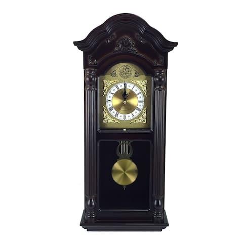 "Bedford Clock Collection 25.5"" Mahogany Cherry Oak Chiming Wall Clock"