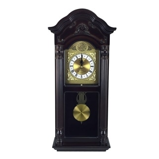 "Bedford Clock Collection 25.5"" Mahogany Cherry Oak Chiming Wall Clock"
