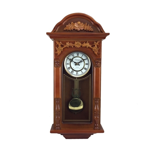 "Bedford Clock Collection 27.5"" Antique Chiming Wall Clock"