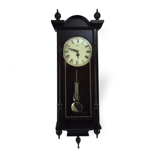 """Bedford Clock Collection Grand 31"""" Cherry Oak Chiming Wall Clock"""