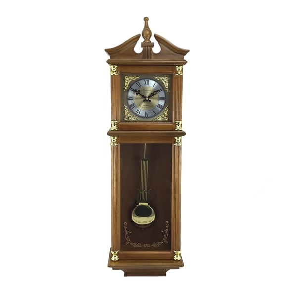 "Bedford Clock Collection 34.5"" Antique Chiming Wall Clock"