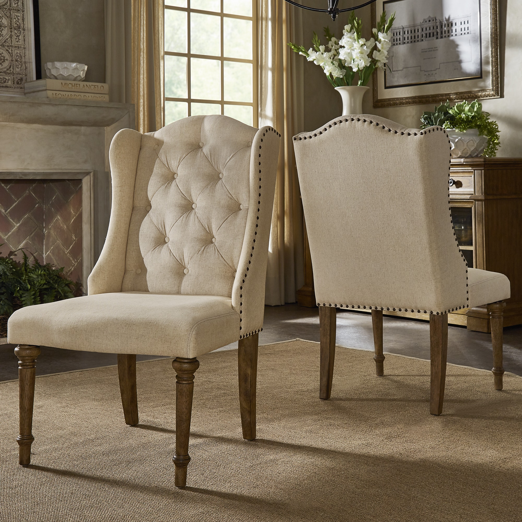cheaper 2c763 d741a Gilderoy Button Tufted Wingback Dining Chairs (Set of 2) by iNSPIRE Q  Artisan - 8' x 10'