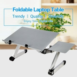Foldable Adjustable Ergonomic Laptop Table Bed Tray with Mouse Pad
