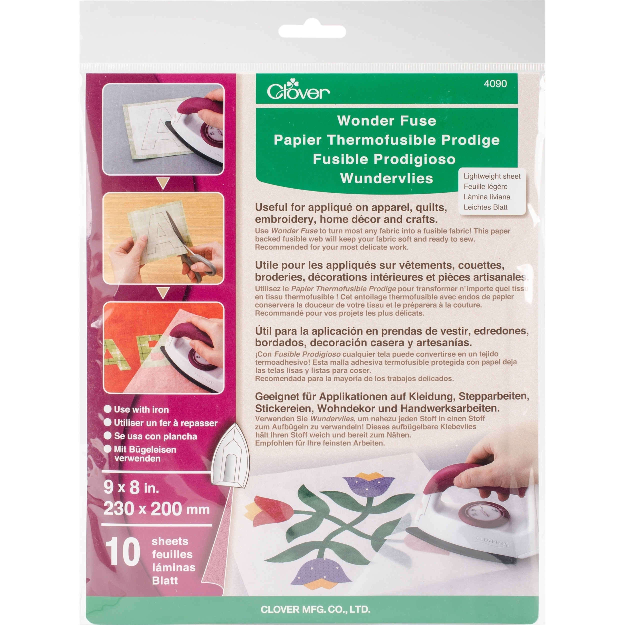 Clover Green) Wonder Fuse Fusible Web 8x9 10pc (Wonder Fuse)