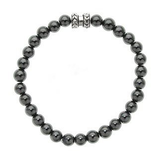 Hematite Bead Stretch Bracelet with Silver-tone Accent