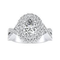 Auriya 14k Gold 1 3/8ct TDW Infinity Vintage Oval-Cut Double Halo Diamond Engagement Ring
