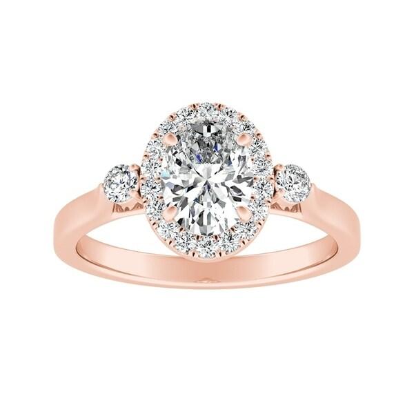 9637ec42273ac Shop Auriya 1 carat TW 3 Stone Halo Oval Diamond Engagement Ring 14K ...