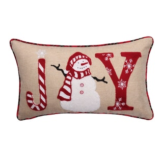 Joy Snowman Plaid Down Feather Fill 12 x 20-inch Embroidered Decorative Throw Pillow