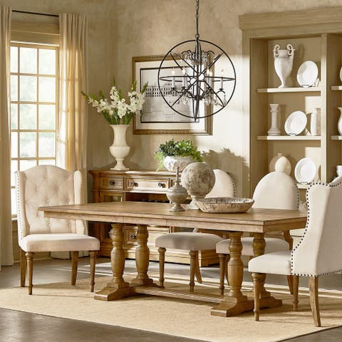 Gilderoy Natural Oak Finish Rectangular Extendable Dining Set by iNSPIRE Q Artisan