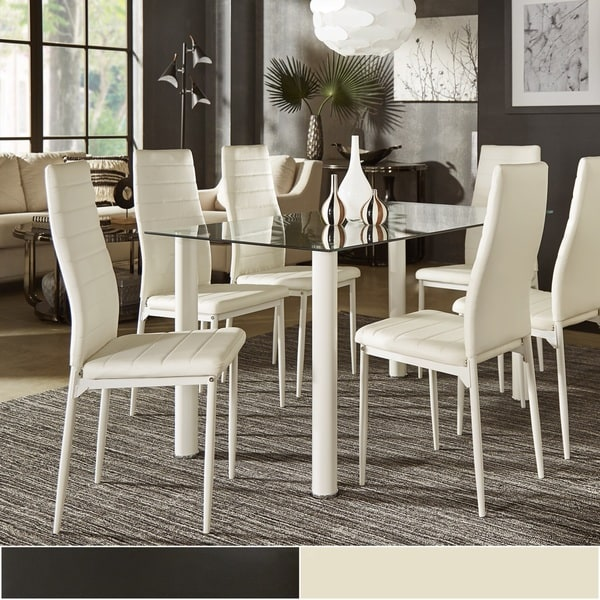 Milo Contemporary Metal And Glass Dining Set   Faux Leather Chairs By  INSPIRE Q Bold