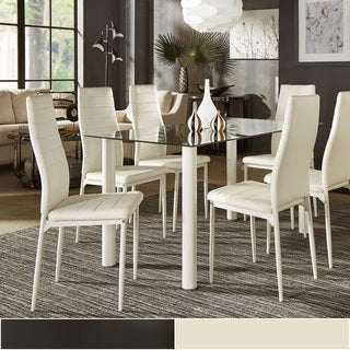 Milo Contemporary Metal and Glass Dining Set - Faux leather Chairs by iNSPIRE Q Bold