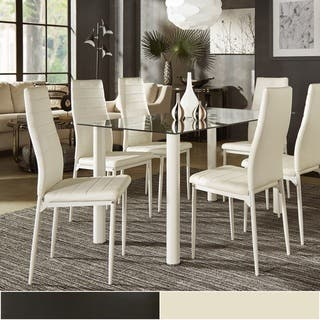Milo Contemporary Metal and Glass Dining Set   Faux leather Chairs by  iNSPIRE Q Bold. Upholstered Dining Room Sets For Less   Overstock com