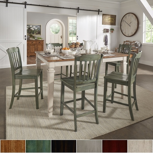 elena antique white extendable counter height dining set slat back from inspire q classic