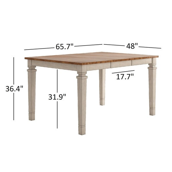Elena Antique White Extendable Counter Height Slat Back Dining Set by iNSPIRE Q Classic