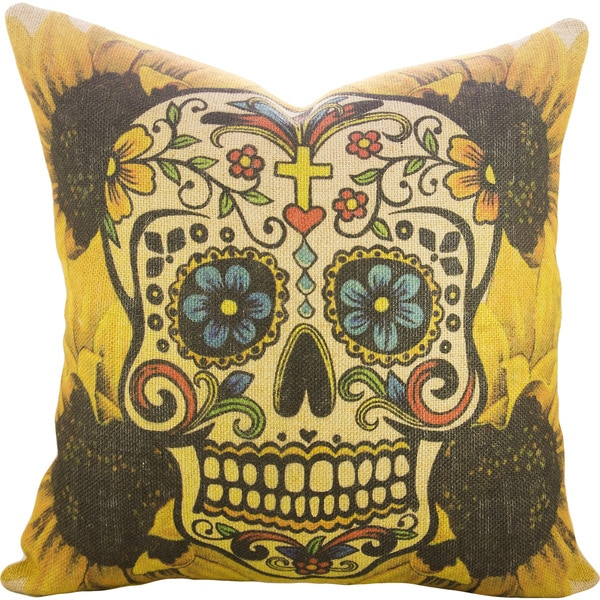 Beau Sunflower Sugar Skull Burlap 18 Inch Throw Pillow