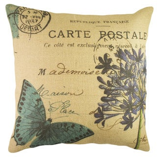 French Butterfly Burlap 18 inch Throw Pillow