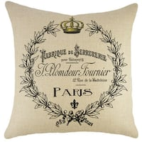 Paris Crest Burlap 18 inch Throw Pillow