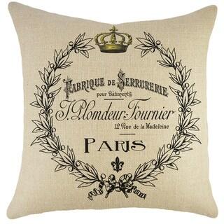 Paris Crest Burlap 18 inch Throw Pillow