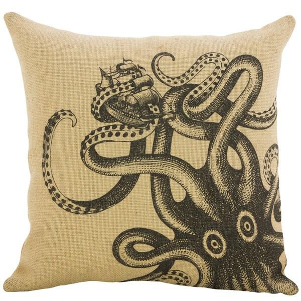 Octopus Shipwreck Burlap 18 inch Throw Pillow