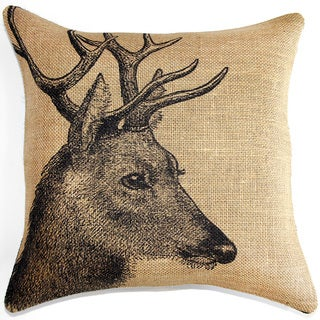 Deer Burlap 18 inch Throw Pillow