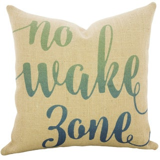 No Wake Zone Ombre Burlap 18 inch Throw Pillow
