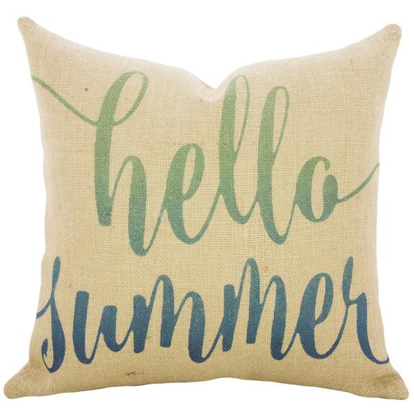 Hello Summer Ombre Burlap 18 inch Throw Pillow