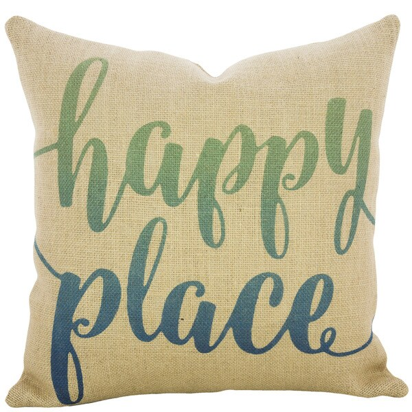 Happy Place Ombre Burlap 18 inch Throw Pillow