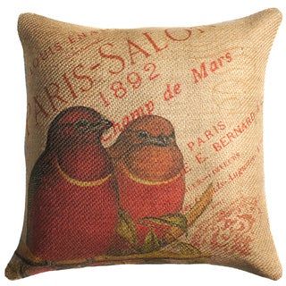 Red Birds French Burlap 18 inch Throw Pillow