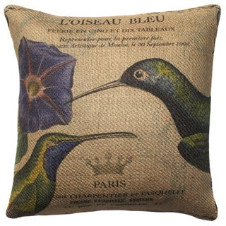 Hummingbird French Burlap 18 inch Throw Pillow