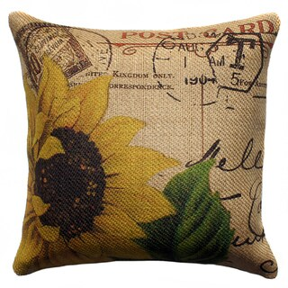French Sunflower Burlap 18 inch Throw Pillow