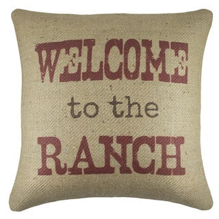 Welcome to the Ranch Burlap 18 inch Throw Pillow