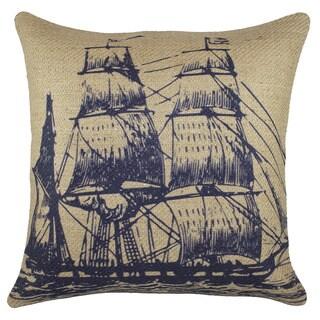 Navy Ship Burlap 18 inch Throw Pillow