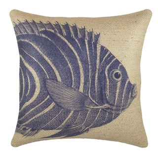 Navy Fish Burlap 18 inch Throw Pillow
