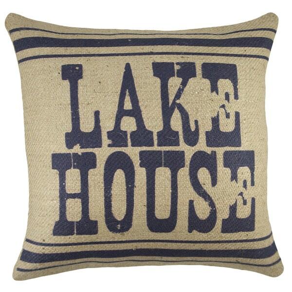 Lake House Rustic Burlap 18 inch Throw Pillow