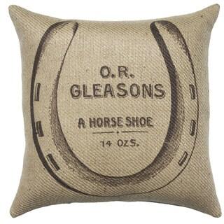 Horseshoe Burlap 18 inch Throw Pillow