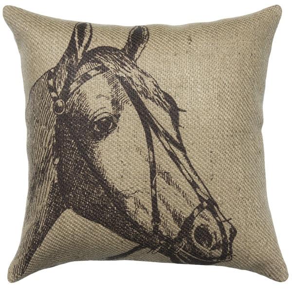 Horse Lodge Burlap 18 inch Throw Pillow