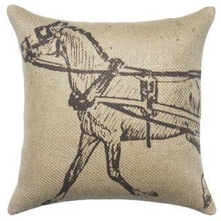 Rustic Horse Burlap 18 inch Throw Pillow