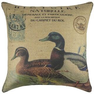 Ducks Burlap 18 inch Throw Pillow