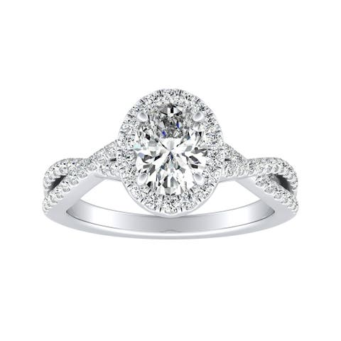 Auriya 14k Gold 1 1/3ctw Twisted Oval-cut Halo Diamond Engagement Ring